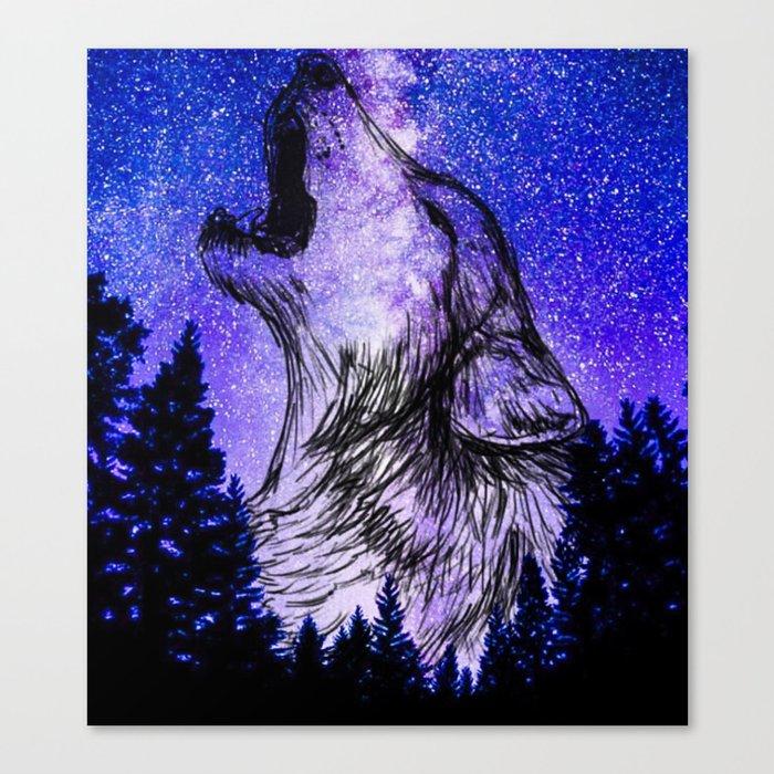 Galaxy Wolf Drawing Canvas Print By Lexwe1465