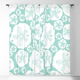 Teal and white sand dollars on the sea shore Blackout Curtain