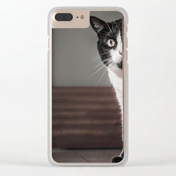 Peaking Cat Clear iPhone Case
