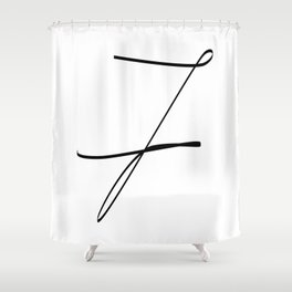 """ Singles Collection "" - One Line Minimal Number Seven Print Shower Curtain"