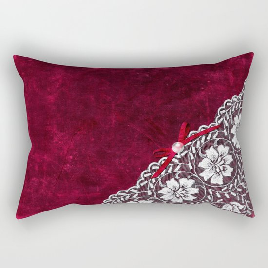 Elegant white Vintage Lace with pearl and ribbon on dark red grunge backround Rectangular Pillow