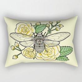 Cicada with Roses - Yellow Rectangular Pillow