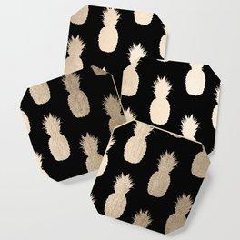 Gold Pineapples Pattern Black Coaster