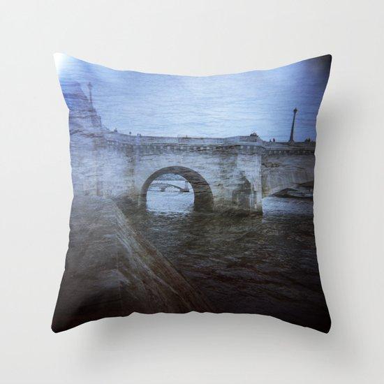 Paris Bridge & Seine Holga Double Exposure Throw Pillow
