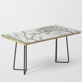 Chinoiserie Panels 1-2 Silver Gray Raw Silk - Casart Scenoiserie Collection Coffee Table