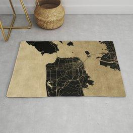 San Francisco California Black and Gold Map Rug