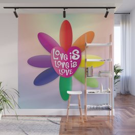 Love is Love is Love - Rainbow Flower Wall Mural