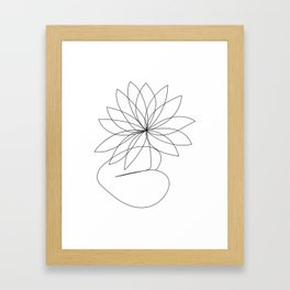 Birthflower, July, Water Lilly Flower, one line, contour, drawing  Framed Art Print