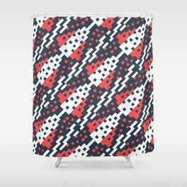 Chocktaw Geometric Square Cutout Pattern - Candy Cane USA Shower Curtain