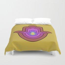 hamsa hand in yellow lotus Duvet Cover