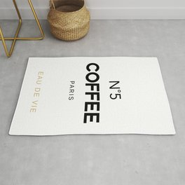 Number 5 Coffee In Paris, Eau De Vie, Water Of Life Quote, Cafe Label Quotes, Large Printable Photo Rug