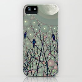 A Dawning with black birds lights on bare branches stars and gibbous moon  iPhone Case