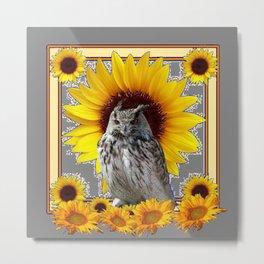 AWESOME GREY OWL SUNFLOWERS  GREY ART Metal Print