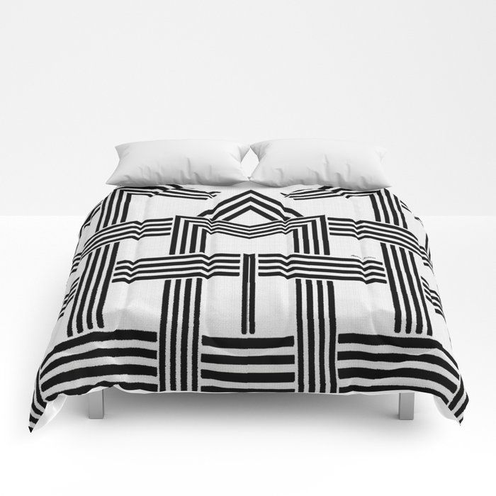 Black and White M Comforters