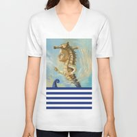 sea horse V-neck T-shirts featuring Sea horse by Nataliya Derevyanko
