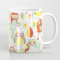 mod Mugs featuring Mod Owls by Jeannine Feierbach Designs