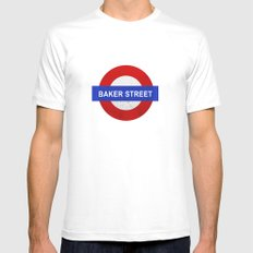 Sherlock Baker Street Print Mens Fitted Tee White MEDIUM