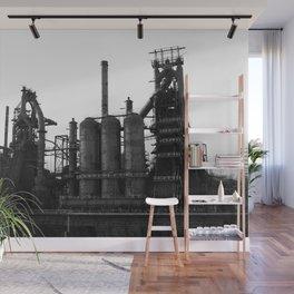 Bethlehem Steel Blast Furnaces in black and white 6 Wall Mural