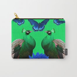 BLUE BUTTERFLIES & GREEN PEACOCKS FLORAL Carry-All Pouch