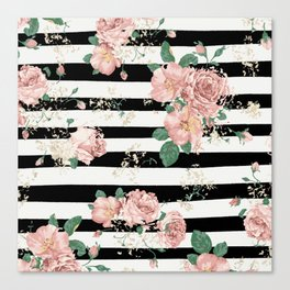 VINTAGE FLORAL ROSES BLACK AND WHITE STRIPES Canvas Print