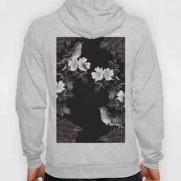 Blackberry Spring Garden Night - Birds and Bees on Black Hoody