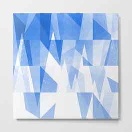 Abstract Blue Geometric Mountains Design Metal Print