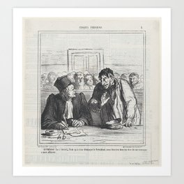 The defendant (whispering to his lawyer)  All this seems to bore the president. Why don't you just s Art Print