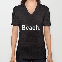 BEACH Bench inspired black text Surf skateboard Whte sizes to Surf Unisex V-Neck