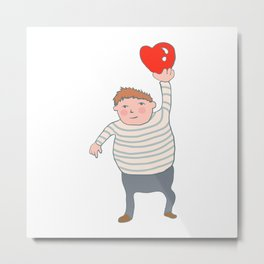 fat boy holding a heart. Metal Print