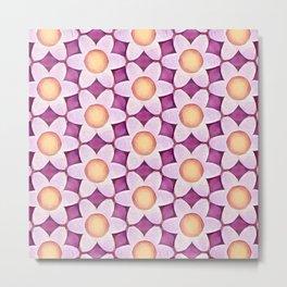 Chunky Flowers Peach Lavender Metal Print