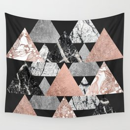 Marble Rose Gold Silver and Floral Geo Triangles Wall Tapestry