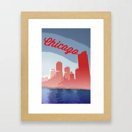 Chicago Skyline Travel Poster Framed Art Print