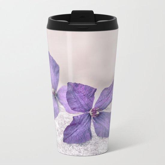 Zen Soft Pastel Purple Clematis Blossom Metal Travel Mug