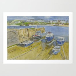 Port Erin Isle of Man watercolour print Art Print