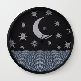Starry sky over the sea denim photocollage Wall Clock