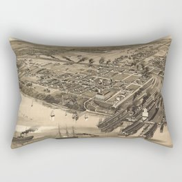 Vintage Pictorial Map of Newport News VA (1891) Rectangular Pillow