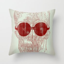 Unravel skull Throw Pillow