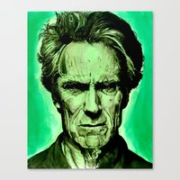 clint eastwood Canvas Prints featuring Clint Eastwood by Jason Hughes