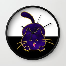 Cute Happy Purple Stained Glass Cat Wall Clock