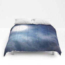 Night sky moon Comforters