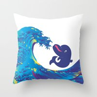 hokusai Throw Pillows featuring Hokusai Rainbow & Babydolphin by FACTORIE