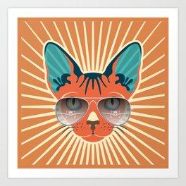 Retro Hipcat & His Sunglasses - Raw Sienna Sunburst Art Print