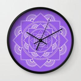 Mandala 01 - White on Lavender Wall Clock