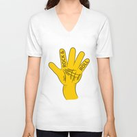 rock and roll V-neck T-shirts featuring Palmistry Rock and Roll by mailboxdisco