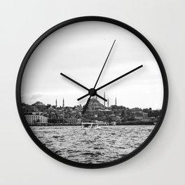Turkish Landscape | Istanbul Turkey Landscape Photograph High Contrast Black and White City Skyline Wall Clock