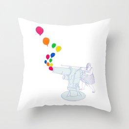 Balloon Cannon Throw Pillow