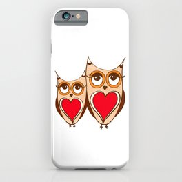 Cute owls with coffee iPhone Case