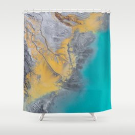 Turquoise World Shower Curtain
