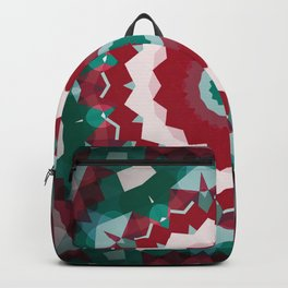 Holiday Red and Green Simple Flower Mandala Backpack
