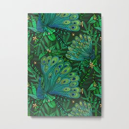 Peacocks in Emerald Forest Metal Print